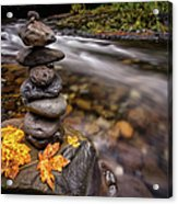 Pile Of Rocks And Autumn Leaves Next To Acrylic Print