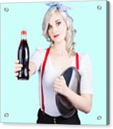 Pin-up Girl Holding Soft Drink Bottle Acrylic Print