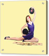 Pin-up Woman Balancing Sound With Record Music Acrylic Print