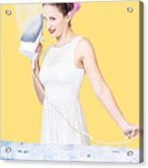 Pin Up Woman Providing Steam Clean Ironing Service Acrylic Print