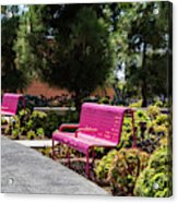 Pink Chairs At Grand Park Acrylic Print