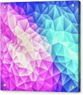 Pink Ice Blue  Abstract Polygon Crystal Cubism Low Poly Triangle Design Acrylic Print