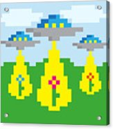 Pixel Vector Landscape With Ufo Acrylic Print