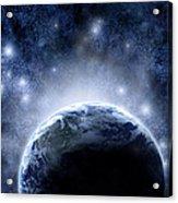 Planet Earth And Stars Acrylic Print
