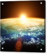 Planet Earth With A Spectacular Sunset Acrylic Print