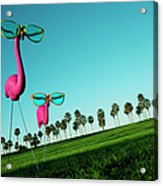 Plastic Pink Flamingos On A Green Lawn Acrylic Print