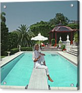 Pool And Parasol Acrylic Print