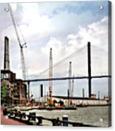 Port Of Savannah Crane Construction Acrylic Print