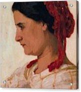 Portrait Of Angela B Cklin In Red Fishnet Acrylic Print
