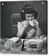 Portrait Of Little Girl Eating Buttered Acrylic Print