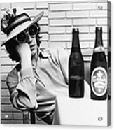Portrait Of Mick Jagger With A Sun Hat Acrylic Print