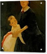 Portrait Of Shestova With Daughter Acrylic Print