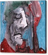 Portrait On Blue Acrylic Print