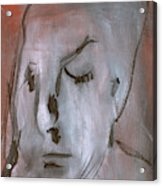 Portrait On Red Acrylic Print