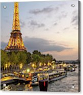 Portrait View Of The Eiffel Tower At Night With Wine Glass In The Foreground Acrylic Print