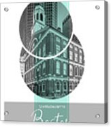 Poster Art Boston Faneuil Hall - Turquoise Acrylic Print