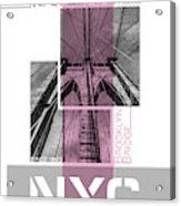 Poster Art Nyc Brooklyn Bridge Details - Pink Acrylic Print