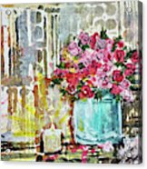 Potted Roses With Candle Acrylic Print