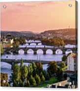 Prague, Over View Of City And River Acrylic Print