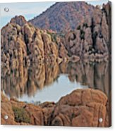 Prescott Arizona Watson Lake Hill Rcoks Water Sky Clouds 3 122019 4865 Acrylic Print