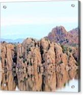 Prescott Arizona Watson Lake Water Mountains Lake Rocks Sky Reflections 4835 Acrylic Print