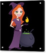 Pretty Witch With Cauldron Acrylic Print