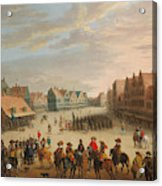 Prince Maurice Of Orange Dismissing The Mercenaries In Neude Square In Utrecht On 31 July 1618 Acrylic Print