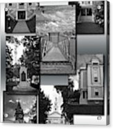 Provincetown Town Hall Cape Cod Massachusetts Collage Bw Vertical Acrylic Print