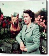 Queen Elizabeth In Garden With Dog Acrylic Print
