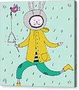 Rabbit In Rain Acrylic Print