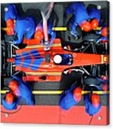 Racecar Driver At The Pit Stop Acrylic Print