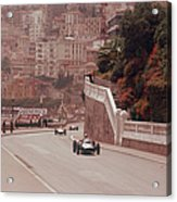 Racing Cars On The Road Track At The Acrylic Print