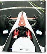 Racing Driver Approaching Finishing Acrylic Print