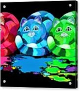 Rainbow Painted Cats Acrylic Print