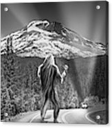 Rear View Of A Sasquatch Hitchhiking Acrylic Print