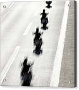 Rear View Of Row Of Motorcycle Riders Acrylic Print