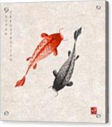 Red And Black Koi Carps Hand Drawn With Acrylic Print