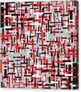 Red Black White Geometric Acrylic Print