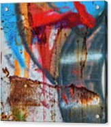 Red Blue Graffiti Abstract Square 2 Acrylic Print