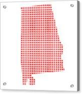 Red Dot Map Of Alabama Acrylic Print
