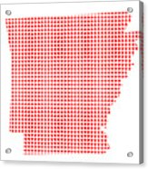 Red Dot Map Of Arkansas Acrylic Print
