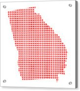 Red Dot Map Of Georgia Acrylic Print