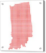 Red Dot Map Of Indiana Acrylic Print