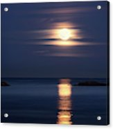Red Full Harvest Moon Rising Above Pacific Ocean In Autumn Acrylic Print
