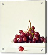 Red Grapes On White Plate Acrylic Print