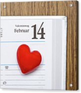 Red Heart Marking Valentines Day In A Acrylic Print