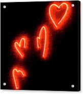 Red Hearts On Wall Acrylic Print