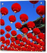 Red Lanterns Are Used As Decoration For Acrylic Print
