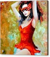 Red Mask Lady Acrylic Print