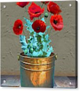Red Patio Poppies Acrylic Print